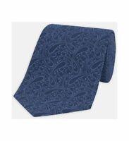 Turnbull & Asser Paisley Branch Tonal Blue Silk Tie 8cm