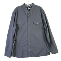 Reyn Spooner Cotton Tailored Fit Button Down LS Shirt Gray - Mens 2XL XXL