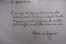 HENRI DE REIGNIER - POEME MANUSCRIT AUTOGRAPHE ADRESSE A MADELEINE KRAUS c.1905