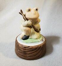 Vintage Frog Fishing Lilly Pad Music Ceramic Figure Wood Stump Tall Taiwan
