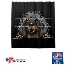 Dachshund Dog Splash On Black Bathroom Fabric USA Shower Curtain
