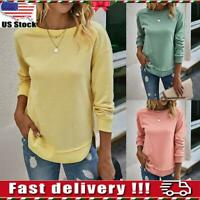 Women Long Sleeve Blouse Ladies Casual Sweatshirt Tops Pullover Tunic Solid Tops