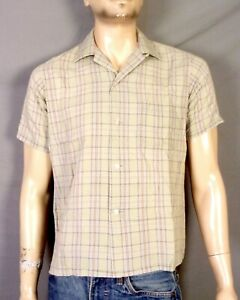 vintage 50s Sears Rockabilly Men's Loop Collar Shirt Square Bottom Gray Plaid M