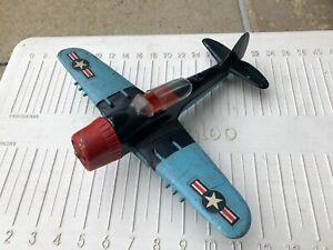 Vintage Hubley Die-Cast Airplane Model 495 USAF US Army Air Corps Red & Blue