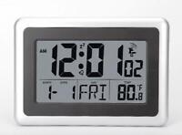 Digital LCD Wall Clock Temperature 7 languages Snooze Alarm Atomic Indoor USA