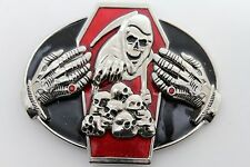 Devil Death Skull Skeleton Coffin Hands Men Women Silver Metal Belt Buckle Big
