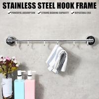 Metal 6 Hooks Wall Hook Rack Hanger Suction Cup Coat Towel Clothes Hat Hanging