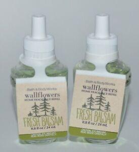 2 BATH & BODY WORKS FRESH BALSAM WALLFLOWER FRAGRANCE REFILL BULB PLUG IN SCENT