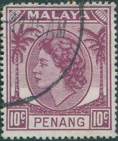 Malaysia Penang 1954 SG34 10c purple Palms QEII FU