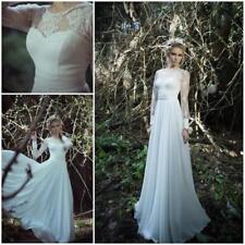Beach Scoop Neck Long Sleeve Wedding Dresses
