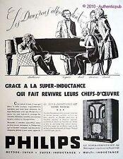 PUBLICITE PHILIPS RADIO INDUCTANCE 637 MOZART LISZT WAGNER BEETHOVEN DE 1935 AD