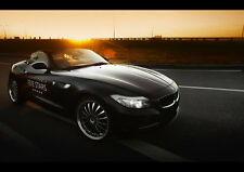 "BLACK BMW Z4 ROADSTER NEW A1 CANVAS GICLEE ART PRINT POSTER FRAMED 33.1""x23.4"""