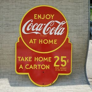 Coca Cola sign enjoy at home take home a carton double sided advertising