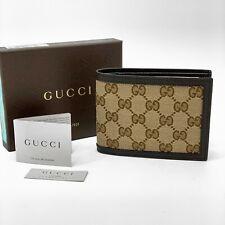 NIB GUCCI Men's GG Guccissima Canvas And Leather Bi-Fold Wallet Beige Brown $470