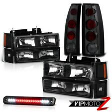 1994-1998 Chevy Silverado Tahoe Suburban Black Headlight+Smoke LED 3RD Taillight