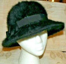 addf967c537 Vintage KANGOL DESIGN Black Fur Bucket Hat Made in England FREE SHIPPING