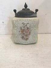 Vintage GLASS Covered Canister Jar Hand Painted Pink Flowers