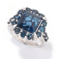 Platinum o/ Silver 8.29ctw London Blue Topaz & Diamond Cocktail Ring, Size 7