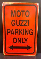 Moto Guzzi Parking Only Metal Sign / Vintage Garage Wall Decor (30 x 40cm)