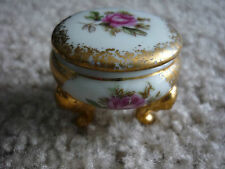 TINY PORCELAIN COVERED TRINKET DISH/PINK FLOWERS/HAND PAINTED/ADORABLE