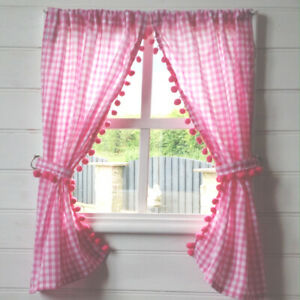 GIRLS PLAYHOUSE CURTAINS ~ PINK GINGHAM POM POMS ~ PLAYHOUSE ACCESSORIES