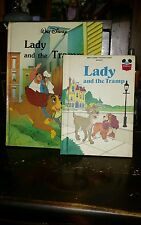 2 Vintage Walt Disney Lady and the Tramp  HC books small 1981 large 1986