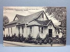 First Christian Church 5th Brown Ave Osawatomie Kansas Miami Co Vtg Postcard