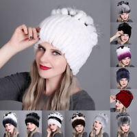 Women Winter Rex Rabbit Fur Hat Head Wrap Knit Cap Beanie Hat Outdoor Warm Gift