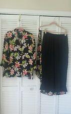 What if? Size L blouse, pants, 100% silk black floral print top, black pants