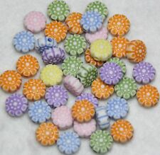 150 ACRYLIC FLOWER CRAFT BEADS - MIXED COLOURS 8.5mm (BBA051)