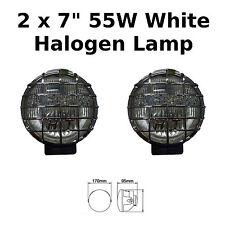 "2 x 7"" Chrome Car Van Round Driving Halogen Spot Lamps Lights Grills 4x4 - 826"