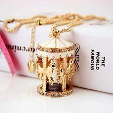 Betsey Johnson Jewelry Chain Carousel Women Charm Rhinestone Necklaces golden