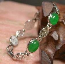 White Gold Plated Fortune Luck Blessing Link Green Jade Cabochon Bangle Bracelet