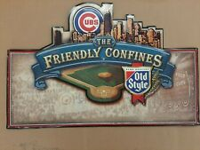 Old Style Beer Chicago Cubs Wrigley Field Embossed Metal Sign Baseball Bar Game