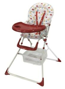 Baby High Chair Folding Infant Child compact Feeding Seat Red Fruit Print