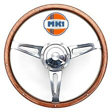 "MG MGB GT Classic 15"" Polished Riveted Light Wood Rim Steering Wheel Kit"
