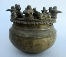 Antique Old Rare Brass Hand Carved Hindu Idon Nandi Shiv Linga Holy Water Pot