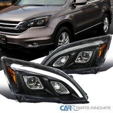 For 07-11 Honda CR-V CRV LED DRL Bar Black Projector Headlights Head Lamps Pair