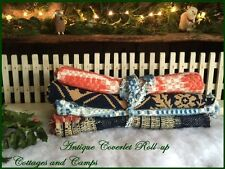 EARLY ANTIQUE HOMESPUN COVERLET ROLL-UPS 1800's PRIMITIVES Xmas Projects aafa