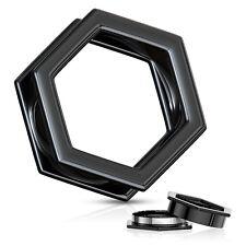 "Ear Tunnels 12mm/1/2"" Gauge Body Jew Pair-Hexagon Titanium Black Ip Screw On"