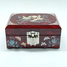 Red color jewelry box inlaid with mother of pearl storage box for trinketry