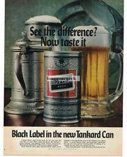 1969 Carling BLACK LABEL Beer in Tankard Can Vtg Print Ad