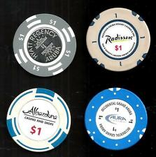 4 ARUBA $1 CASINO CHIPS  ~  NETHERLAND ANTILLIES    - -  LOW PRICE