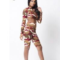 LA LUX Camo Print Long Sleeve Crop Top Womens Size Small