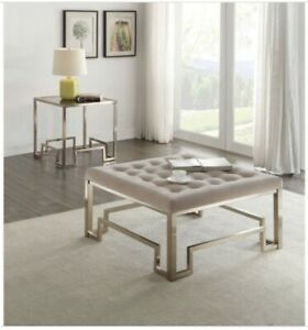 ACME Damien Square Tufted Coffee Table Ottoman in Champagne