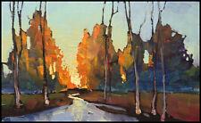 HAWKINS Landscape Glow Stream Impressionism Original  Oil  Painting  Art  Signed