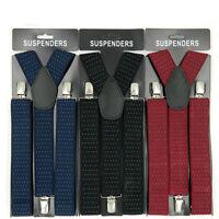 Men Y Shape Elastic Suspenders Leather Brace Adjustable Clip-on Shirt Belt Strap
