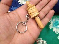 Handmade Mini Pocket size Wooden prayer wheel/ keychain from Nepal