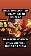 "XBOX LEVEL 65 ""GAME BREAKER AMARA 2.0 BUILD"" 8 ITEMS GOD ROLLS MAYHEM 10 MOXSY"