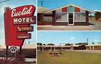 Bay City Michigan 1960s Postcard Euclid Motel Playground Swingset